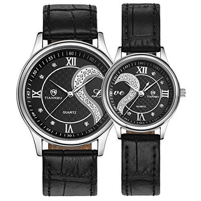 86ac0baa7995 Lacaca Couple Watches Gift- His and Hers Matching Set-Tiannbu Romantic  Fashion Waterproof Leather Strap Men Women Wrist Watches (One Pair) (Black)