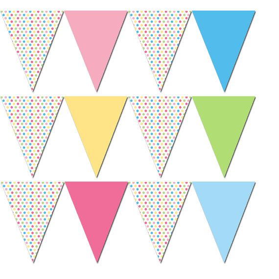 party flag banner pastel colors polka dots birthday or baby shower printable party decoration. Black Bedroom Furniture Sets. Home Design Ideas