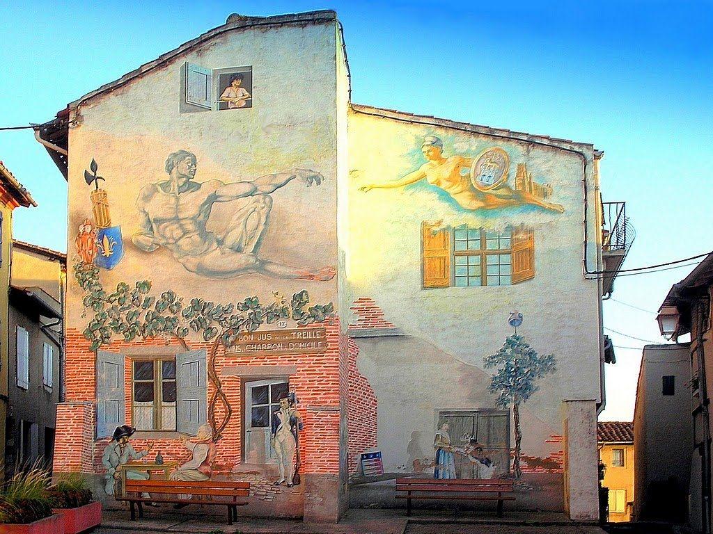 Un tr s beau trompe l 39 oeil au castelviel albi trompe oeil peinture pinterest trompe - Trompe l oeil peinture ...