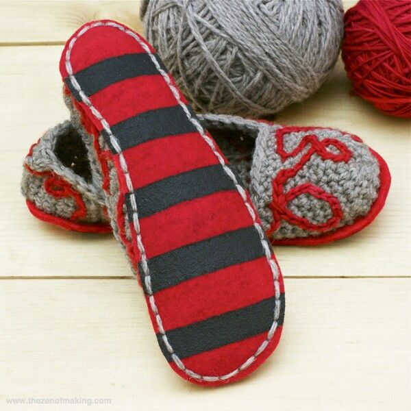 Tutorial: Fancy Felt Soles for Crocheted Slippers. (This tutorial only  shows how to add the sole to a completed slipper.