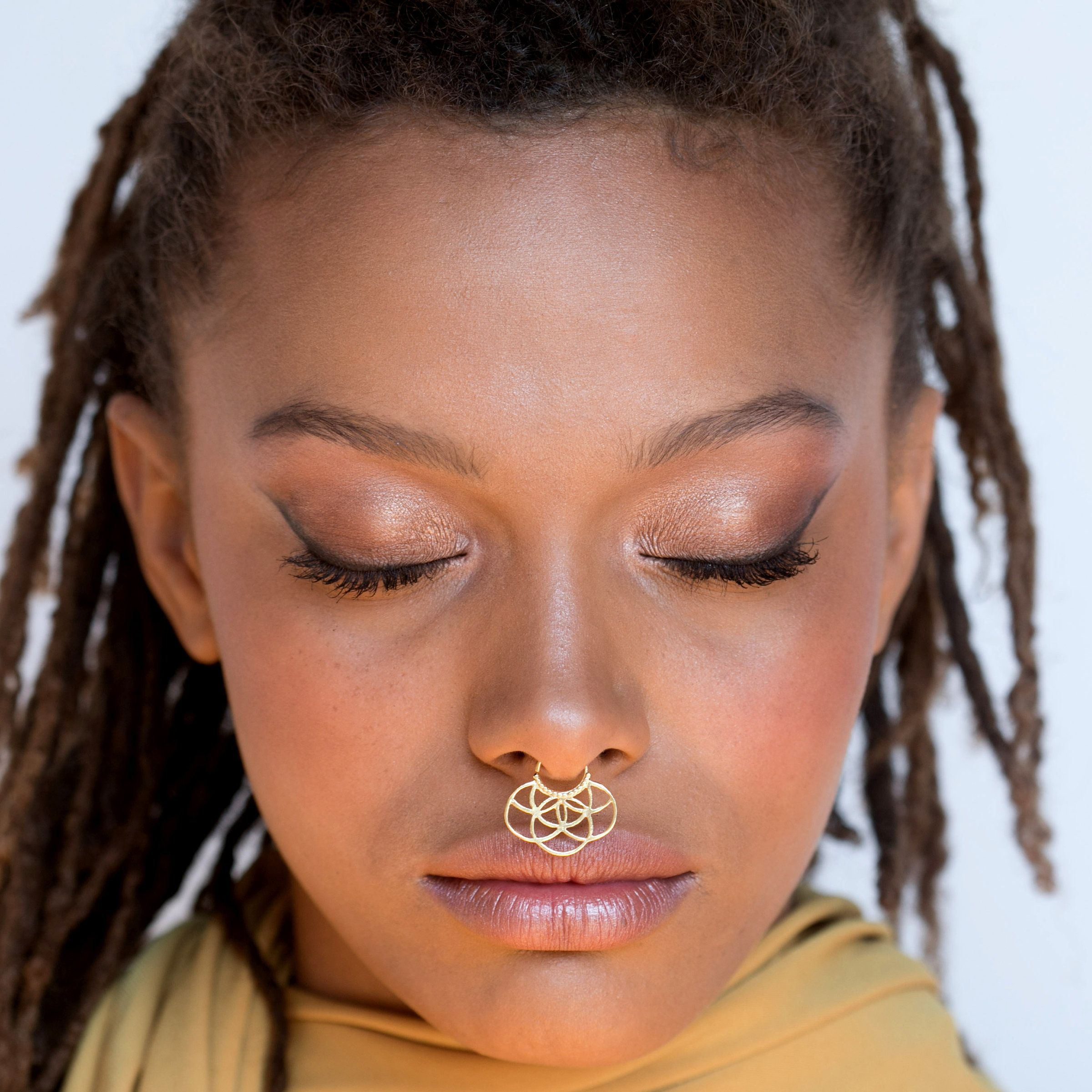 Unique Gold Septum Septum Jewelry Large Septum Lotus Septum