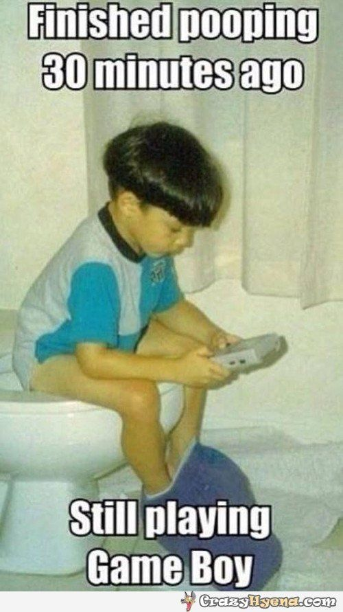 Humorous Picture Of A Kid Who S Sitting On The Toilet After Doing The Job And Is Playing On His Portable Vid Video Games Funny Funny Games Funny Games For Kids