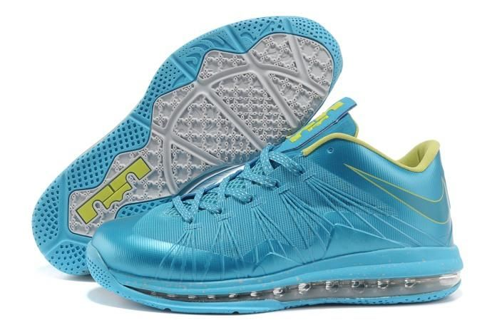 Cheap Nike Zoom Lebron 10 Low Shoes Blue Yellow 541100 001