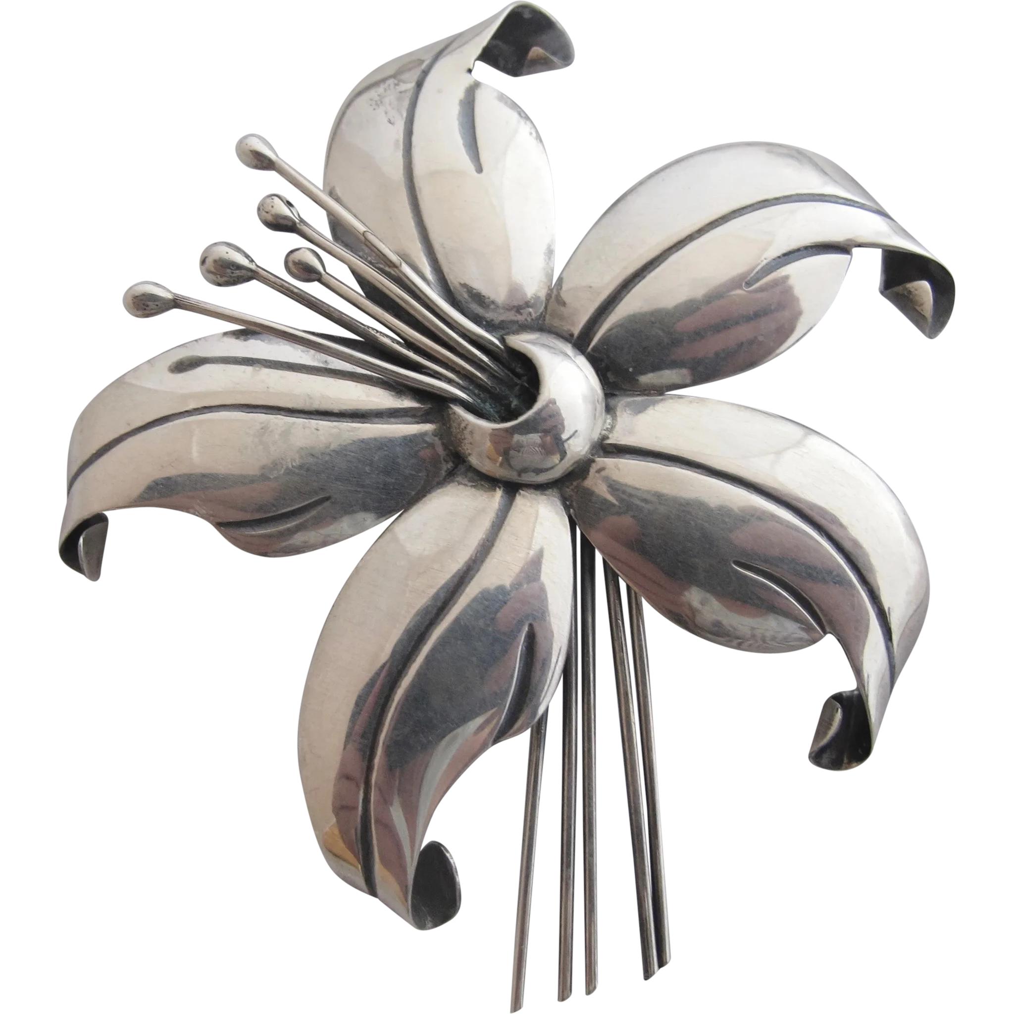 Vintage Sterling Maricela Flower Brooch