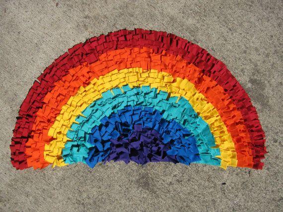 NEW Rainbow Recycled T-Shirt Rug. $50.00, via Etsy.