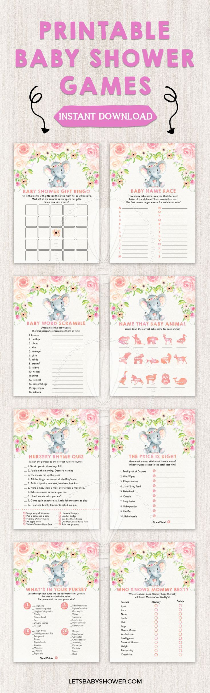 Blush pink floral elephant baby shower game pack pinterest elephant baby shower for girls expocarfo Image collections