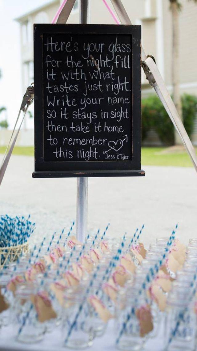 Mason jars for guests at beach wedding