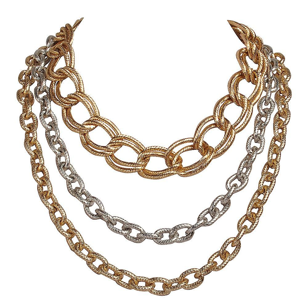 Fashion Statement Necklace Golden Silver Chain Chunky Jewelry