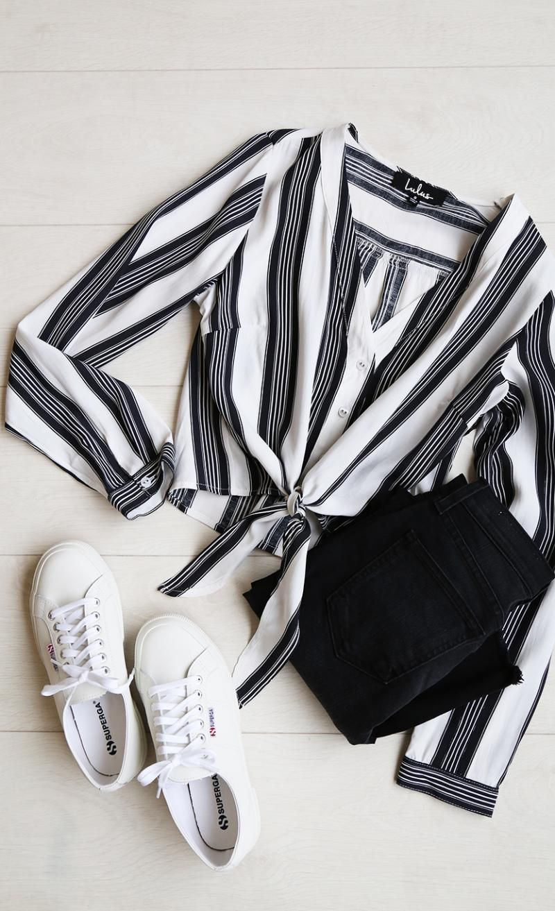 Cole Valley Black and White Striped Top is part of Outfits - It's brunch time, so toss on the Cole Valley Black and White Striped Top and get to the cafe! Striped top with a Vneck, long sleeves, button front, and a tying hem