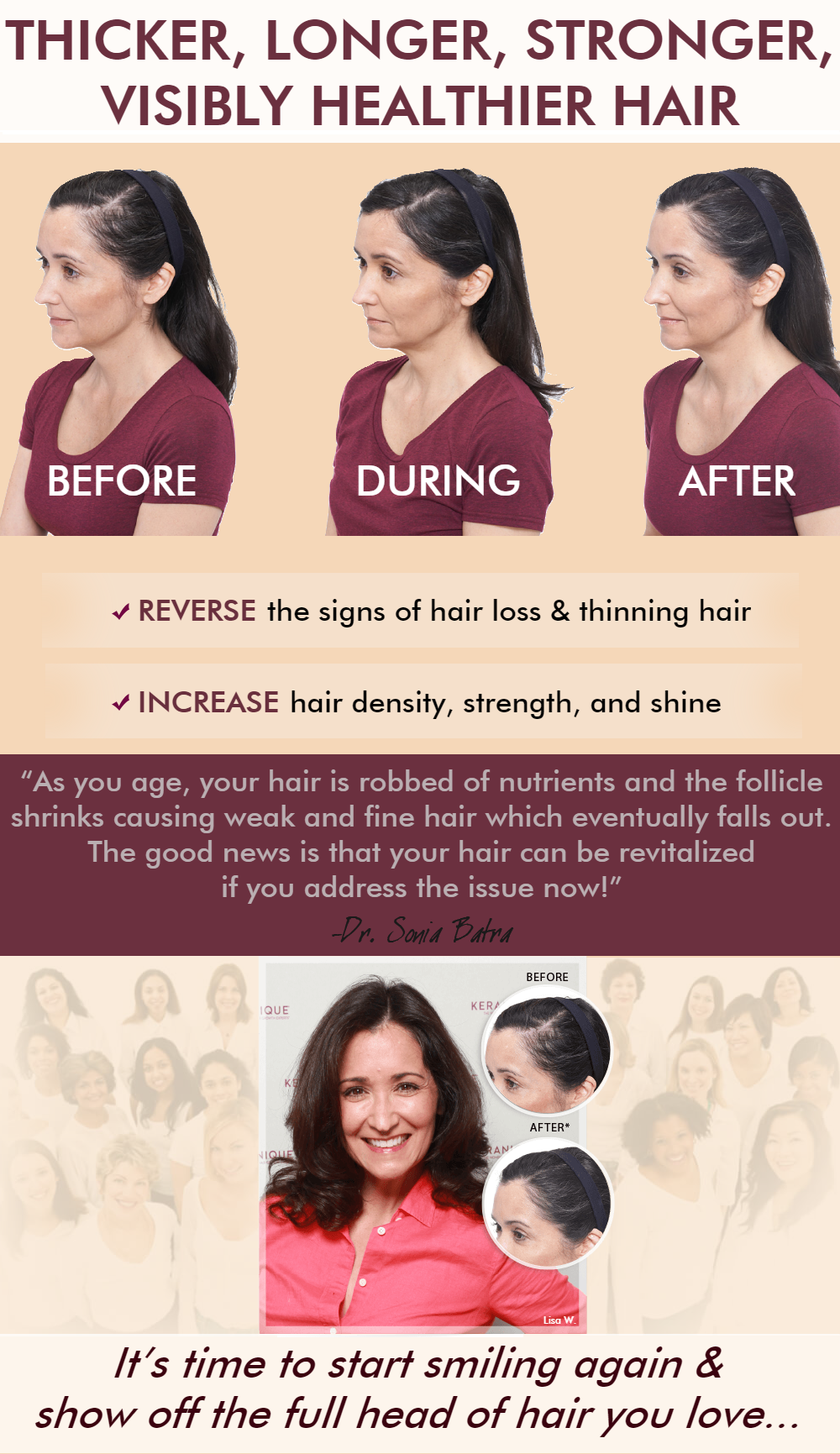 Thicker, longer, stronger, visibly healthier hair! Reverse