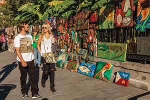 Local artists sell their work in Jackson Square.
