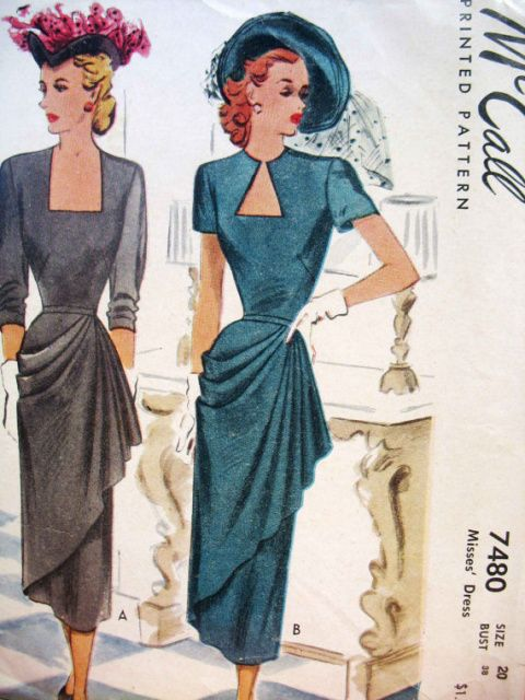 1940s DRAMATIC COCKTAIL EVENING DRESS PATTERN SWEEPING SIDE DRAPED, KEYHOLE or LOW RECTANGLE NECKLINE McCALL 7480