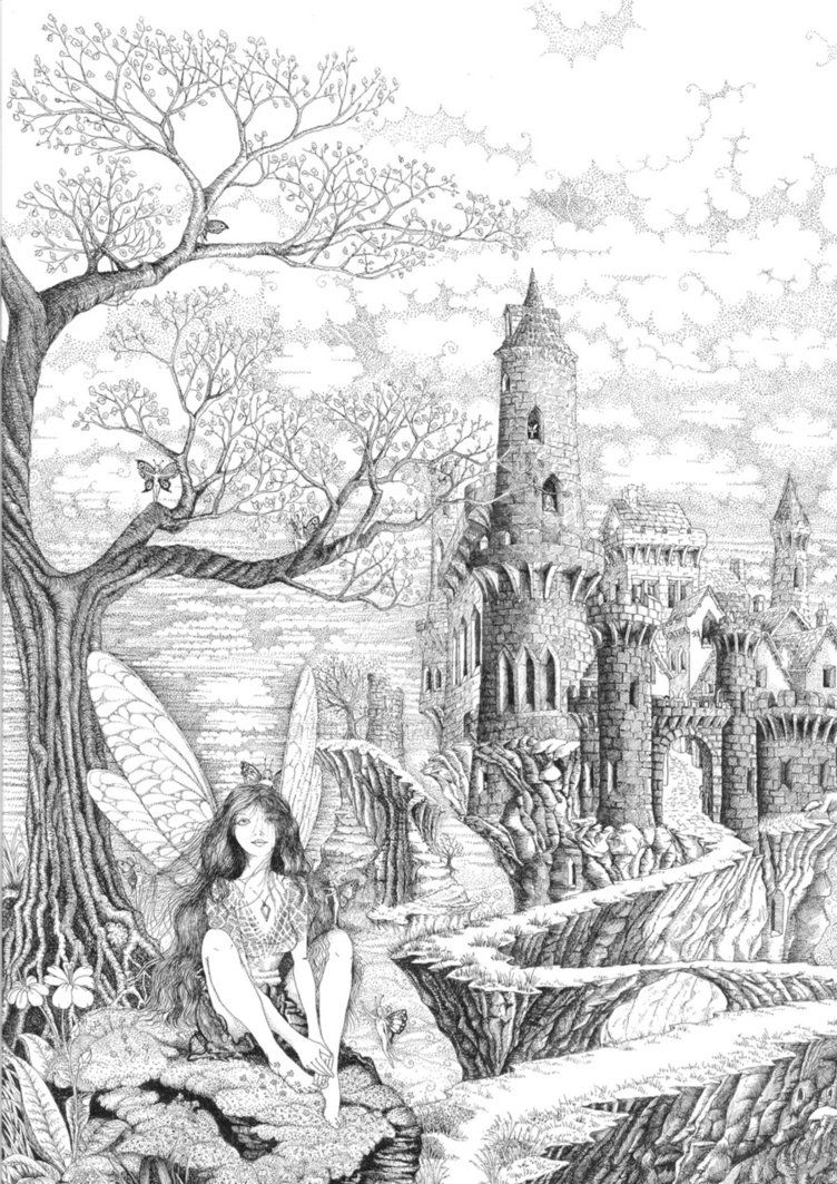 Fairy Pathway Grayscale Coloring Fairy Coloring Pages Coloring Pictures [ 1063 x 752 Pixel ]