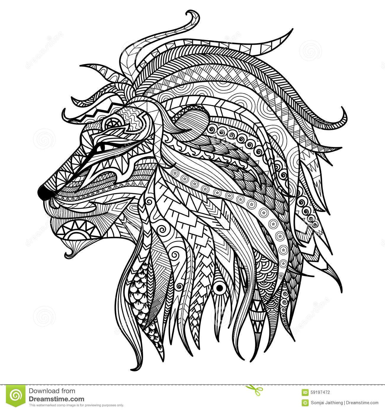 Hand drawn lion coloring page download from over 61 million high quality stock photos images vectors sign up for free today image 59197472