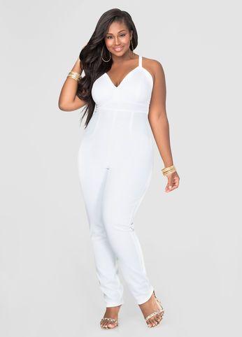 banded scuba jumpsuit (womens plus size) #plussizefashion #dress