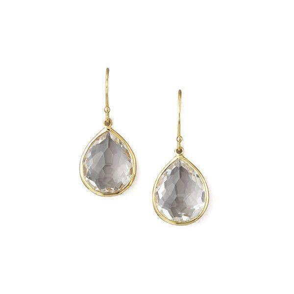 Ippolita Rock Candy& Lollipop Chrysoprase Teardrop Earrings ($995) ❤ liked on Polyvore featuring jewelry, earrings, clear quartz, ippolita, clear jewelry, 18 karat gold earrings, polished rock jewelry and rock jewelry
