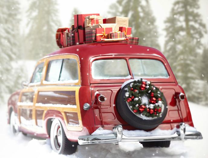 Vintage Car At Christmas