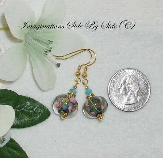 "Petite Earrings Garden Rosebud Lampwork Glass Swarovski Turquoise ""Garden Rosebud""  #MarieADawson on Etsy, $3.95"