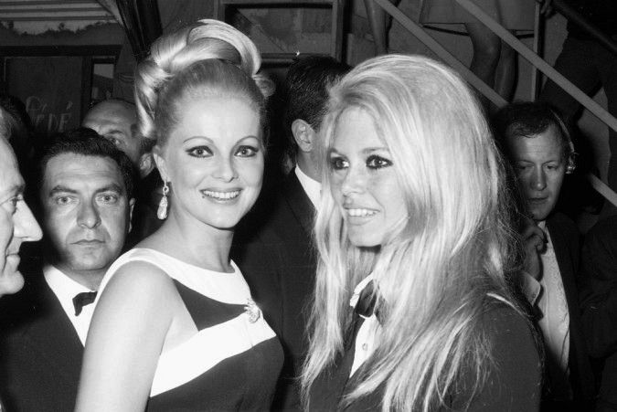 Virna Lisi and French actress Brigitte Bardot at the Cannes Film Festival, 1967.