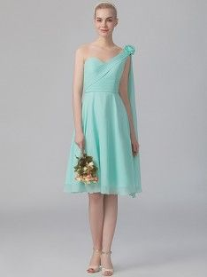 One-shoulder Chiffon Dress; Color: Hint of Mint; Sizes Available: 2-26W, Custom Size; Fabric: Chiffon