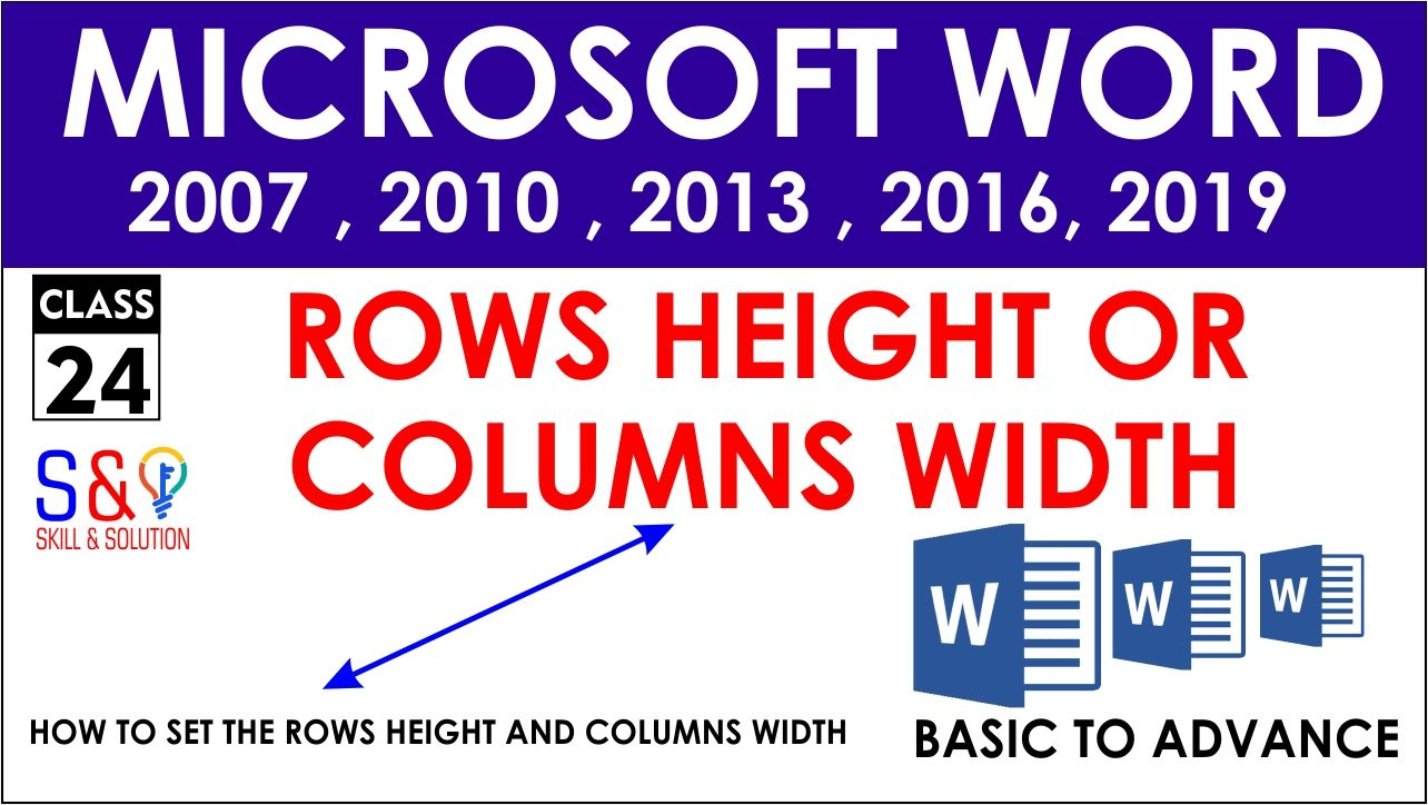 How To Change Rows Height And Columns Width Microsoft Word 2007 Microsoft Word 2016 Words