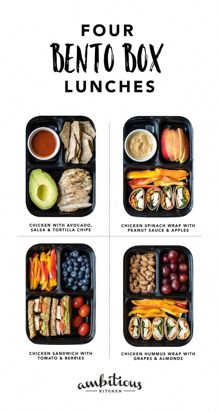These four easy, protein-packed bento boxes are perfect for a quick lunch or post workout snack on-the-go. Made with wholesome ingredients like Just BARE Chicken, fresh fruits, veggies and grains! PLUS a bonus post-workout dinner for your busy week. #quickhealthysnacks #bentoboxlunch