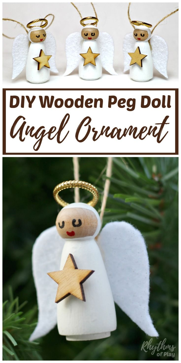 Diy Wooden Angel Christmas Ornaments Homemade Christmas Crafts Diy Christmas Ornaments Diy Angel Ornaments