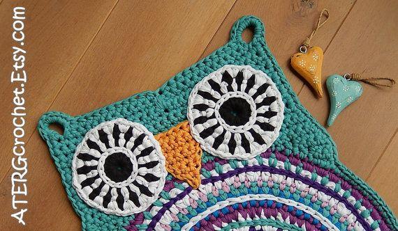 OWL RUG 'JADE' door ATERGcrochet klaar voor door ATERGcrochet