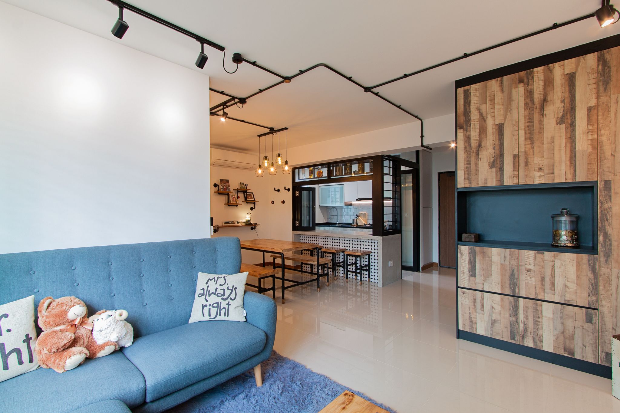 HDB 4-Room Standard Flat. House is designed under Scandinavian theme. Highlight of the house is the open concept walk-in wardrobe that many dream of. The open kitchen with bar top bench and stools …