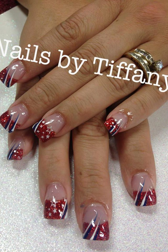 Acrylic Nails By Tiffany Nails Pinterest Tiffany Nails Patriotic Nails Design Nail Designs