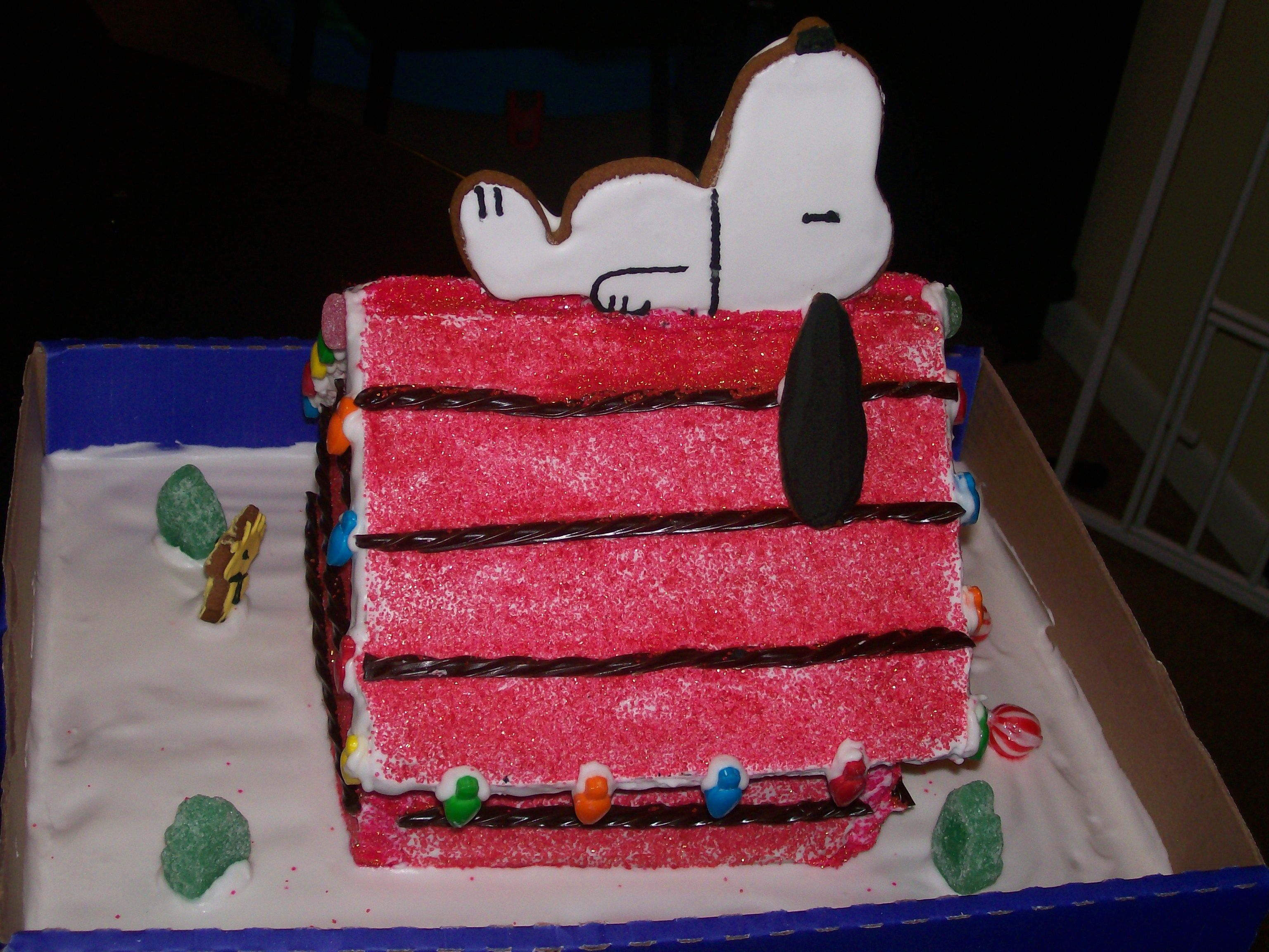 How I made my Gingerbread house this year!!!! Love Snoopy!