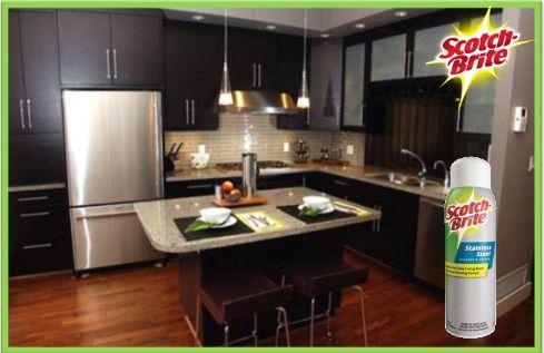 Stainless Steel Scotch-Brite® es el limpiador de acero inoxidable en espray que remueve la mugre de cualquier superficie de acero inoxidable de tu casa. Ideal para refrigeradores, estufas, microondas, etcétera.