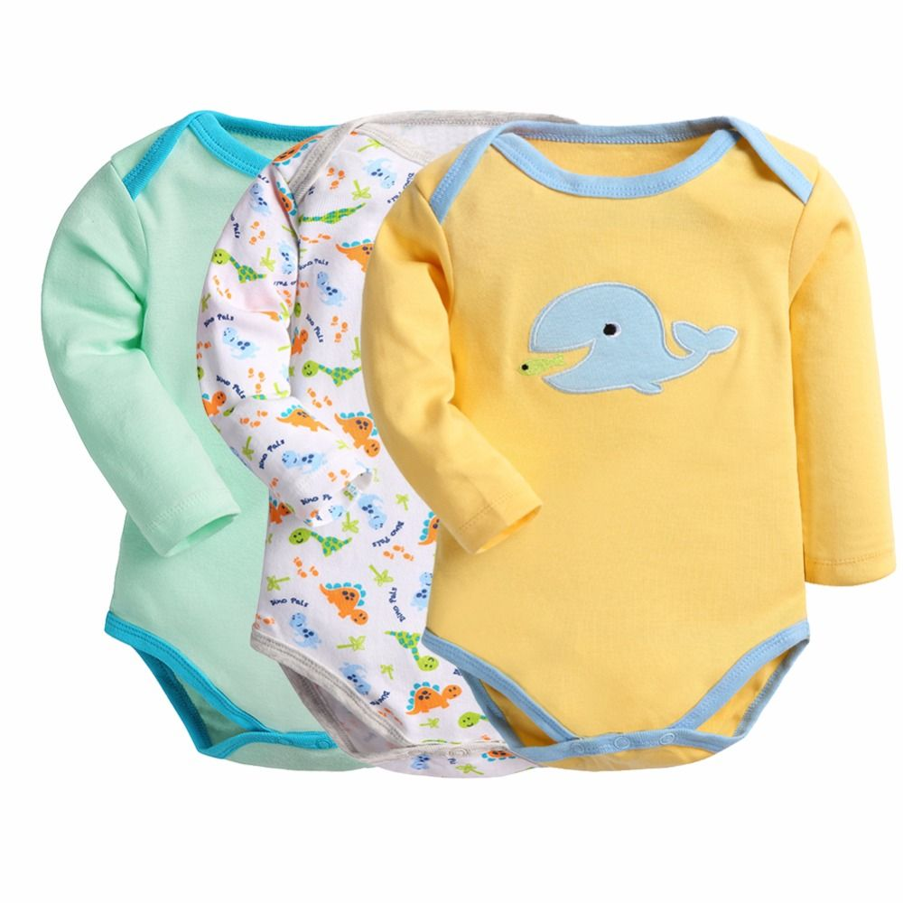 4853a7d13 Retail 3 Pieces lot Baby Bodysuits Cartoon Style Pajama Baby ...