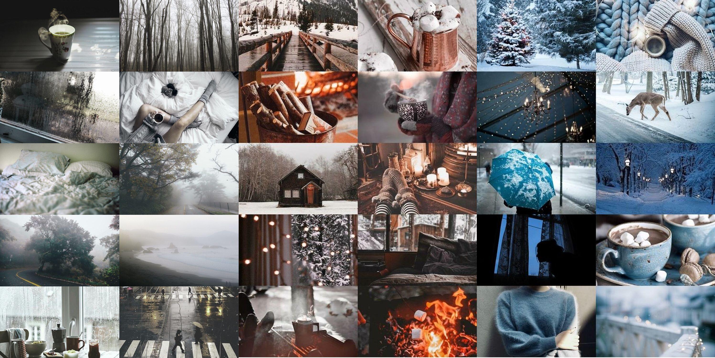 Winter cozy aesthetic collage Winter desktop background