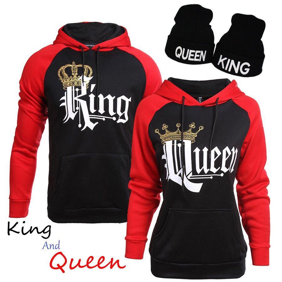 2a17cf58bfd1 Matching Couples King Queen Classic Love Set Black Red Hoodie Sweater Outfit