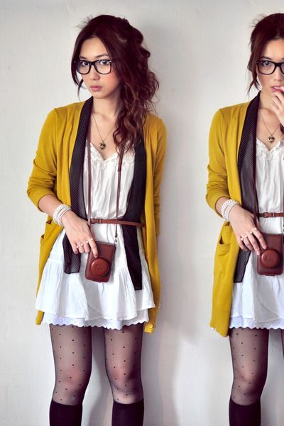 love her hair, the mustard cardi, and the polka dot tights!