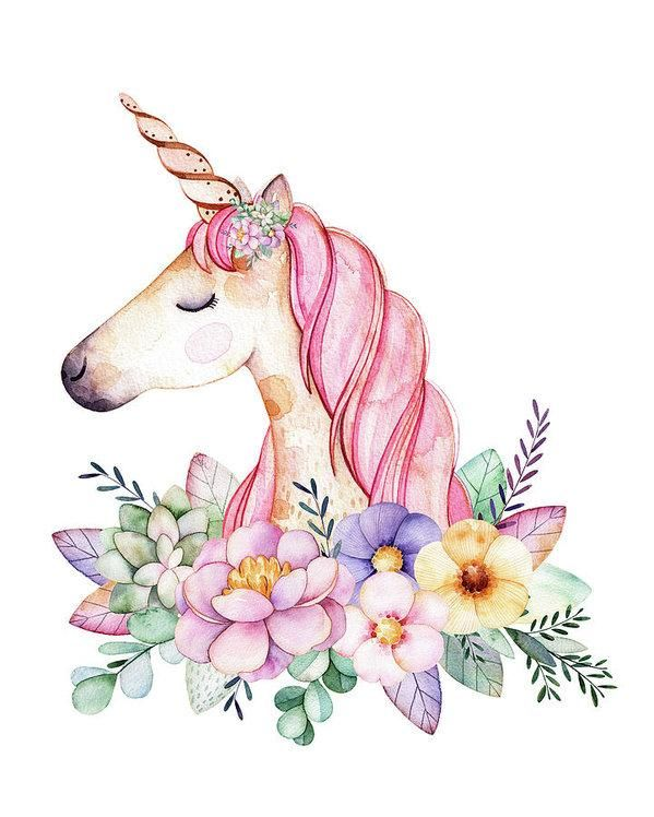 Magical Watercolor Unicorn Boho Wall Art Print Baby Girl