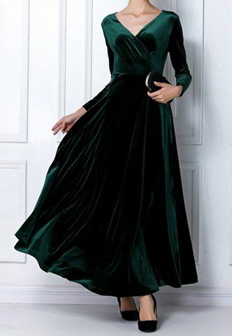 63e7101c701 Elegant V-Neck Long Sleeve Maxi Velvet Dress For Women Vintage Dresses