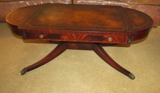Antique Leather Top Claw Leg Oval Regency Style Flame Mahogany