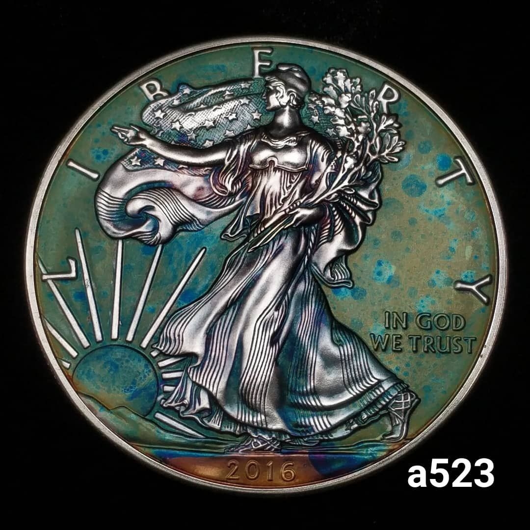 Rainbow Toned Silver American Eagle Coin 1 Troy Ounce Fine Silver High Grade Artistic Toning All Colors Forme American Silver Eagle Silver Eagles Eagle Coin