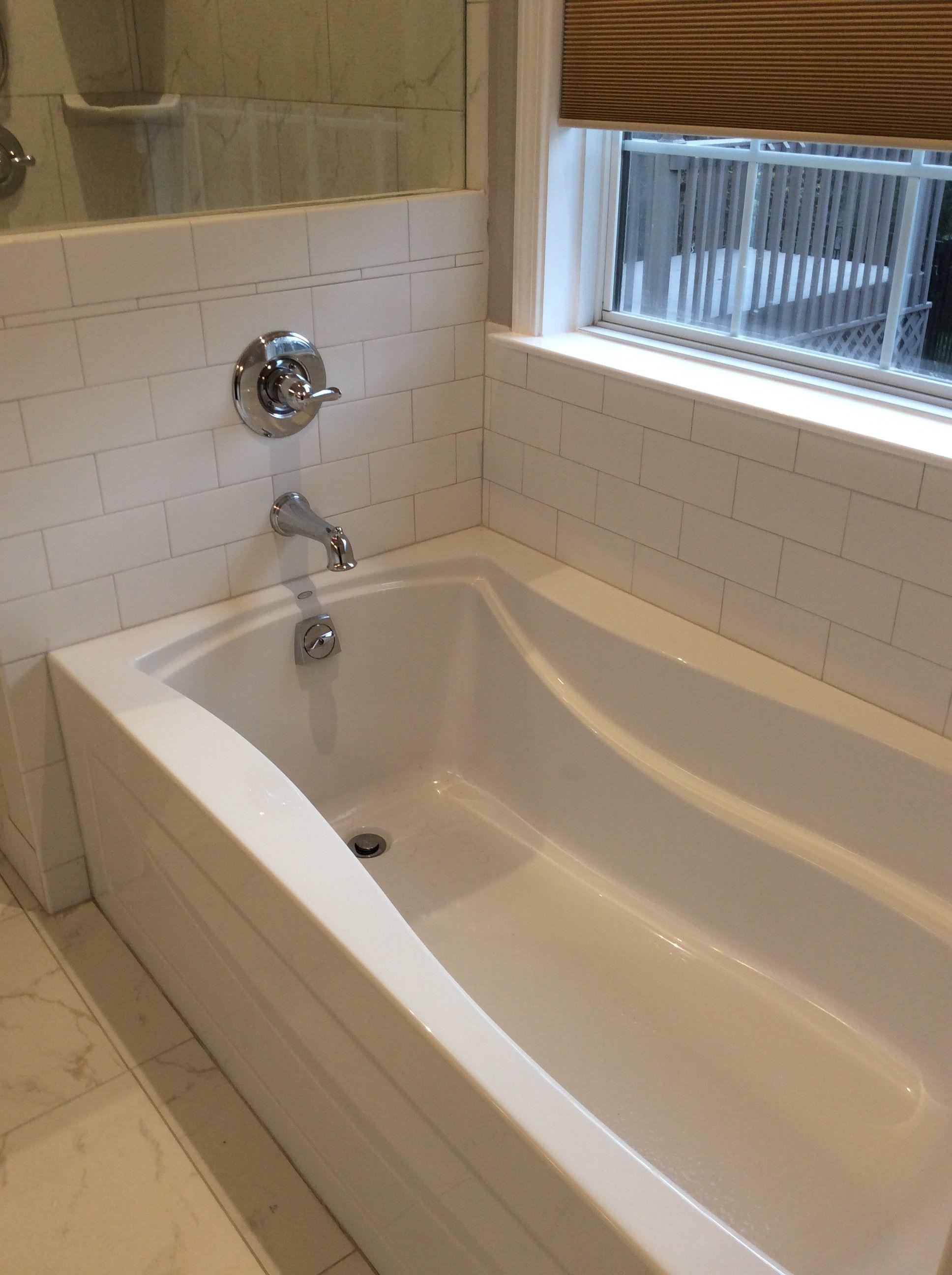 Kohler mariposa soaking tub with white subway tile   Master bathroom ...