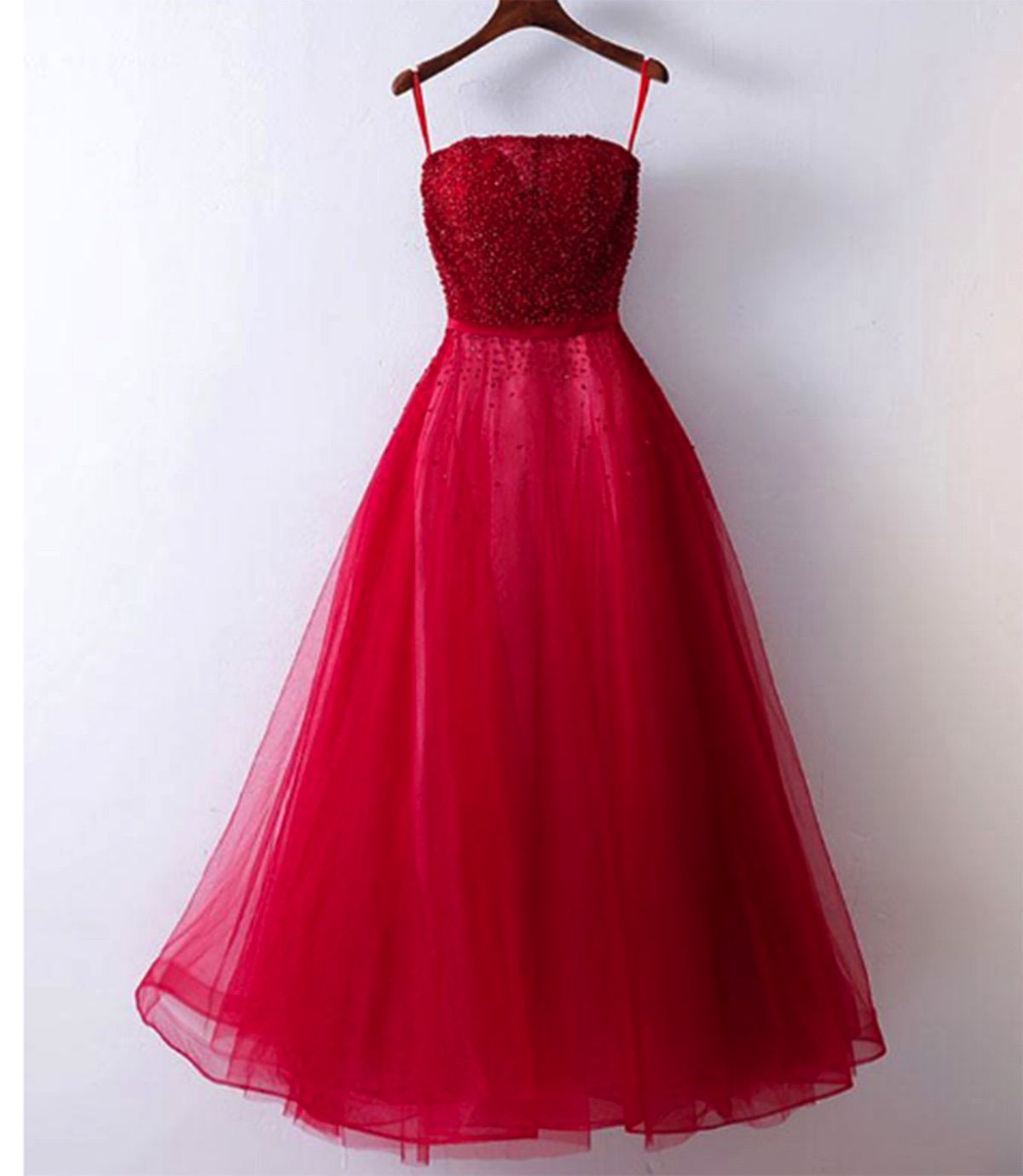 Cute red tulle sequins prom dress with straps promdress prom