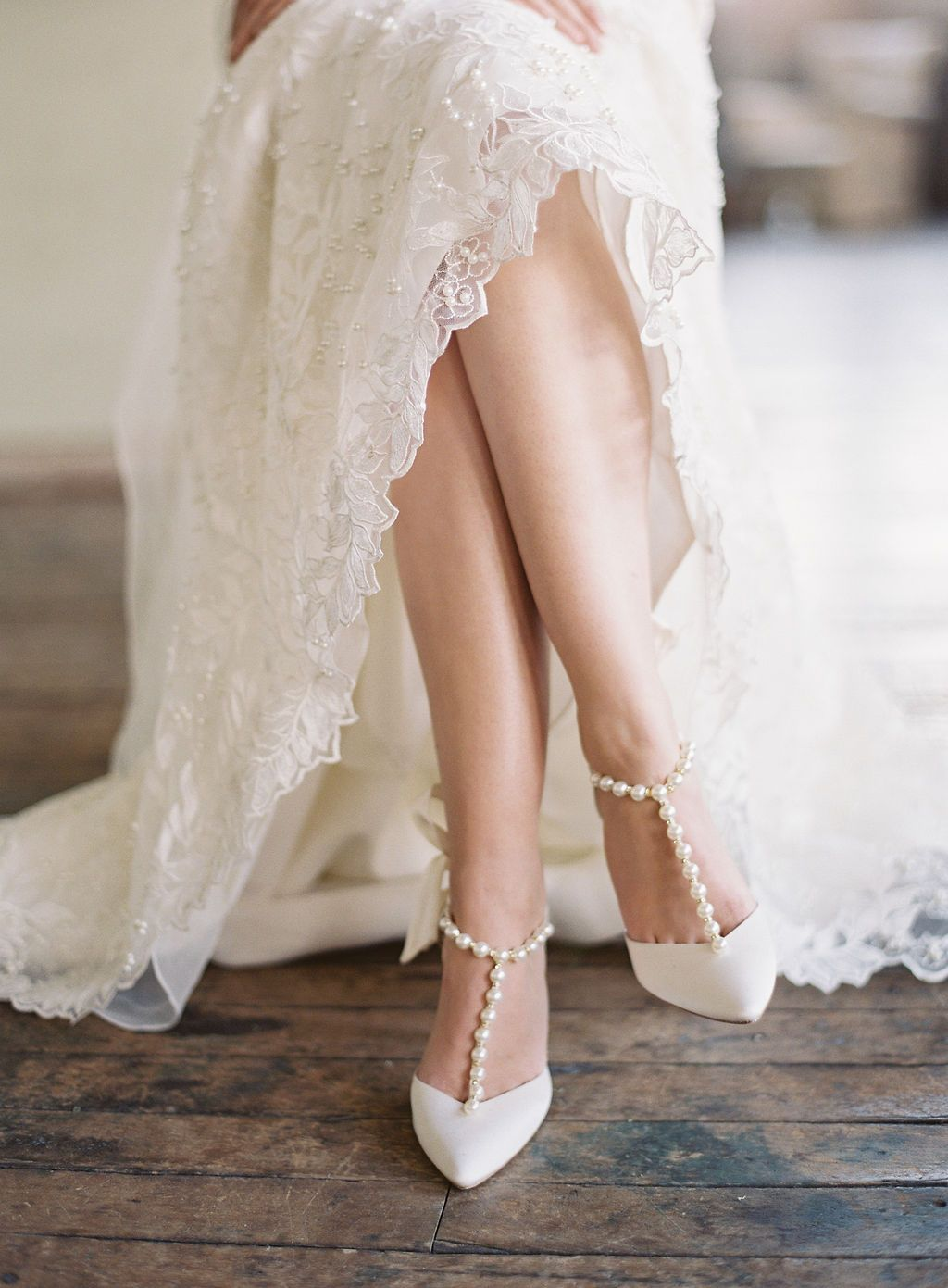 Pearls And Crystal Ivory Bow Wedding Heel In 2020 Wedding Heels
