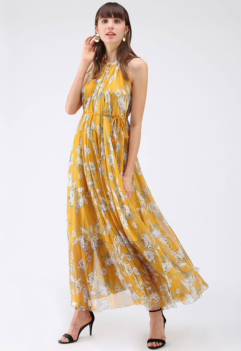 Flower Season Chiffon Maxi Slip Dress in Yellow yellow M