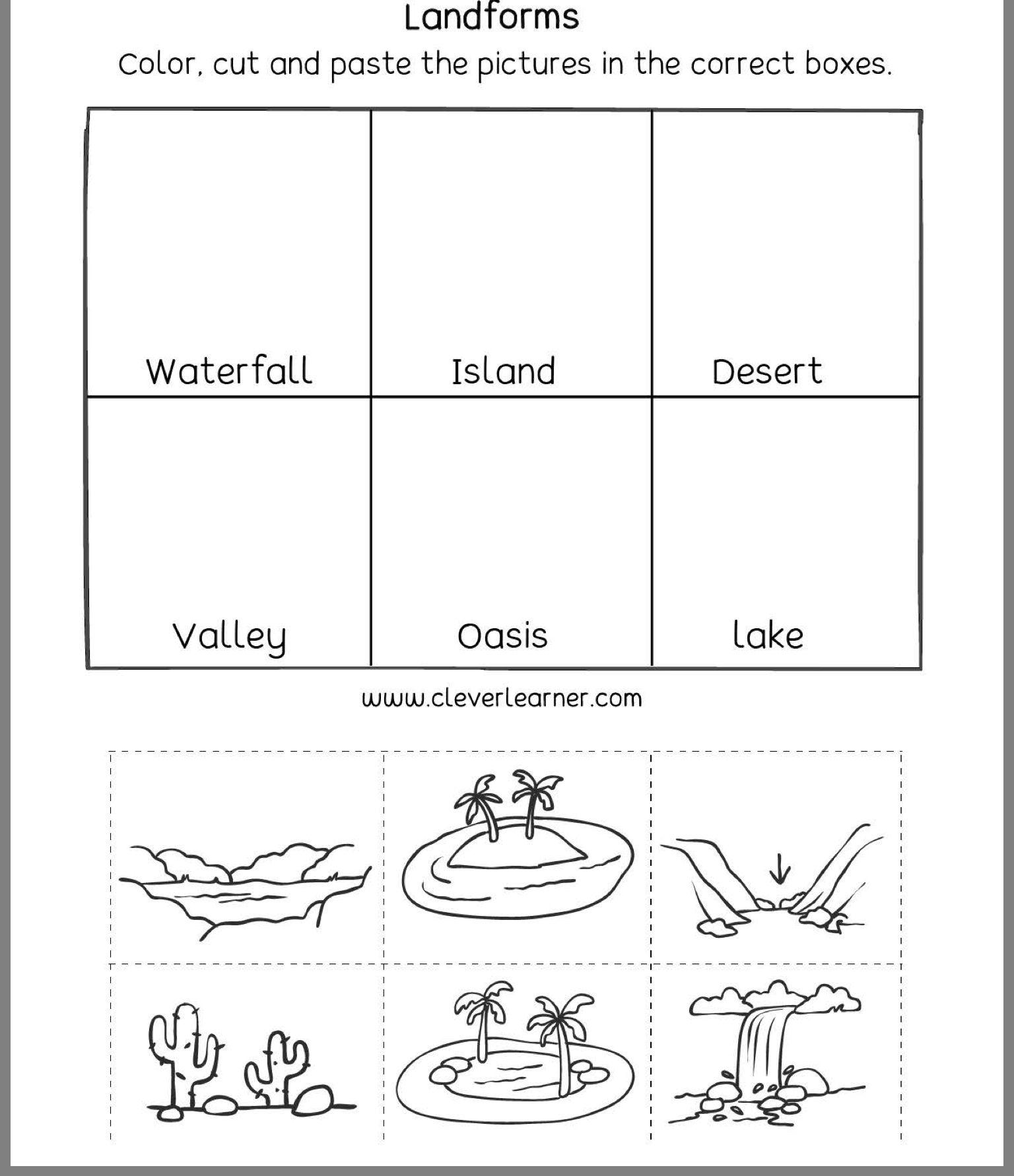 Pin By Jessica Mauras On Material Educativo Preschool Printable Worksheets Landforms