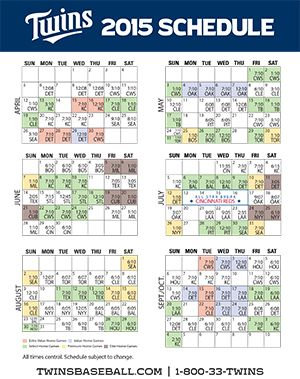 photo relating to Minnesota Twins Printable Schedule called Twins Printable Timetable Sports activities Minnesota twins routine