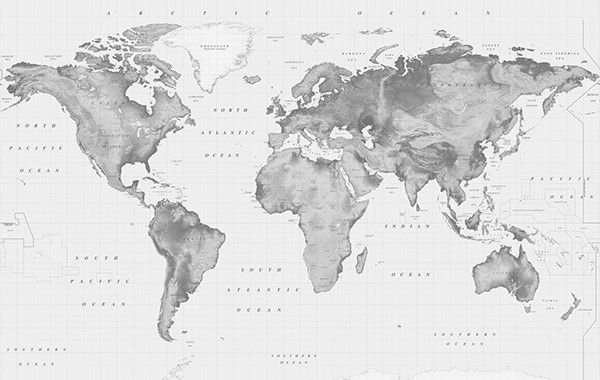 Black & White Relief World Map | WALLCOVERINGS | World map