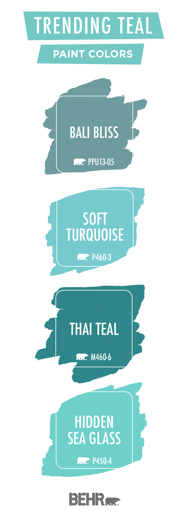 Update your interior design style with these trending teal Behr Paint colors. Bali Bliss, Soft Turquoise, Thai Teal, and Hidden Sea Glass can add a pop of bright blue color to your home. We love pairing these shades with white, gray, cream, and greige color palettes to create a beach-inspired look. Click below for chic home decor ideas.