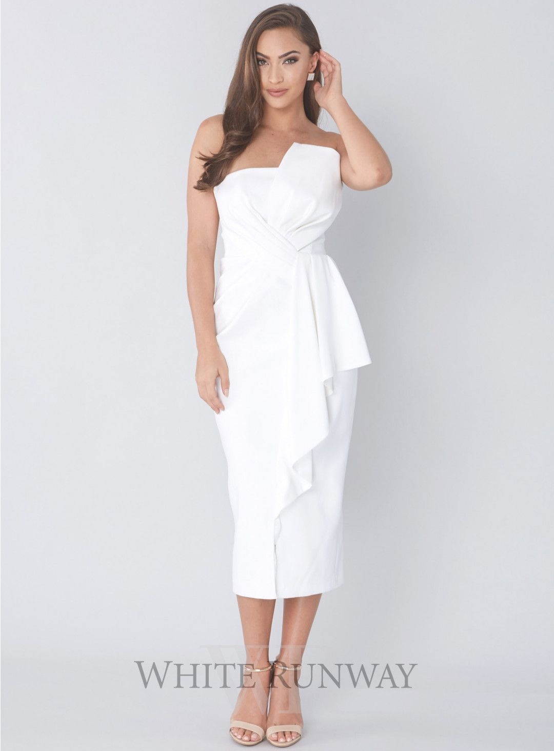 Stellina Midi Dress. A gorgeous cocktail length dress by Australian  designer Samantha Rose. A strapless style featuring 3D ruffle on the  neckline and waist. 210fb5f6ee