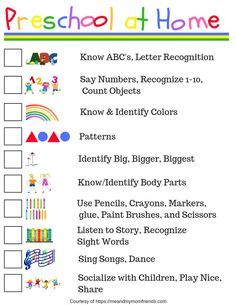 Preschool at Home - Free Printable Checklist - meandmymomfriends.com